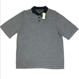 Eddie Bauer Striped Short Sleeve Polo Shirt Navy L